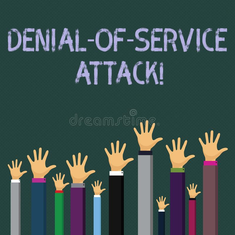 Writing note showing Denial Of Service Attack. Business photo showcasing Attack meant to shut down a machine or network. Writing note showing Denial Of Service vector illustration