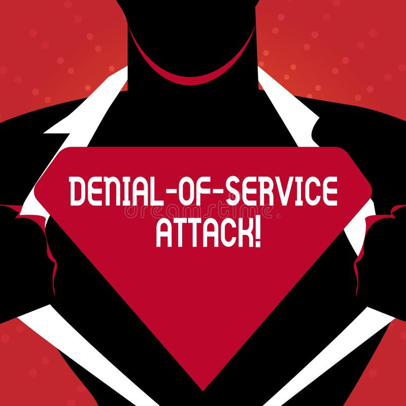 Writing note showing Denial Of Service Attack. Business photo showcasing Attack meant to shut down a machine or network. Writing note showing Denial Of Service royalty free illustration