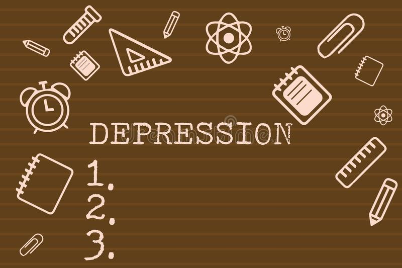 Writing note showing Depression. Business photo showcasing Feelings of severe despondency and dejection Mood disorder.  stock illustration