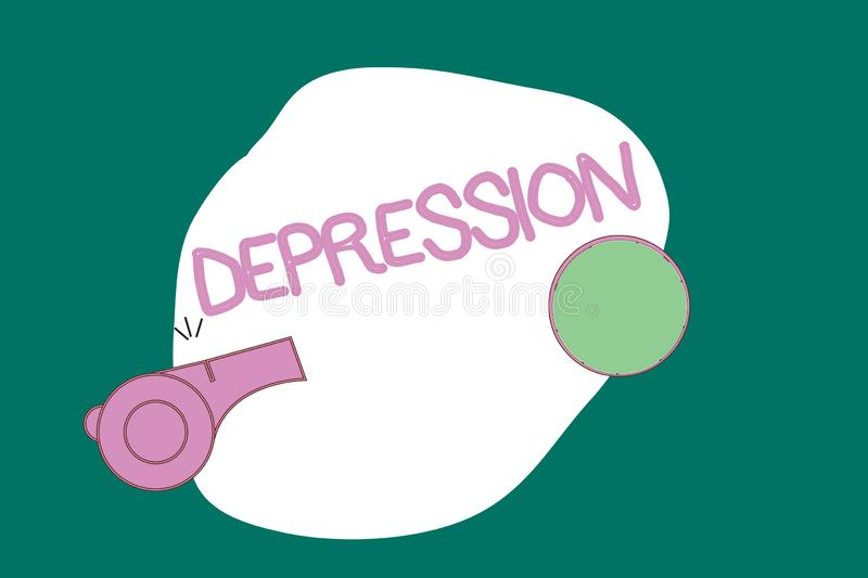 Writing note showing Depression. Business photo showcasing Feelings of severe despondency and dejection Mood disorder.  royalty free illustration