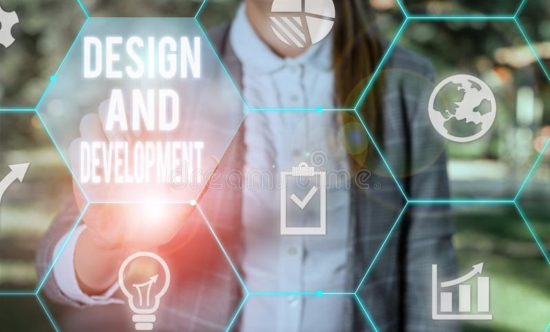 Writing note showing Design And Development. Business photo showcasing Defining the Specification of Products and stock photo