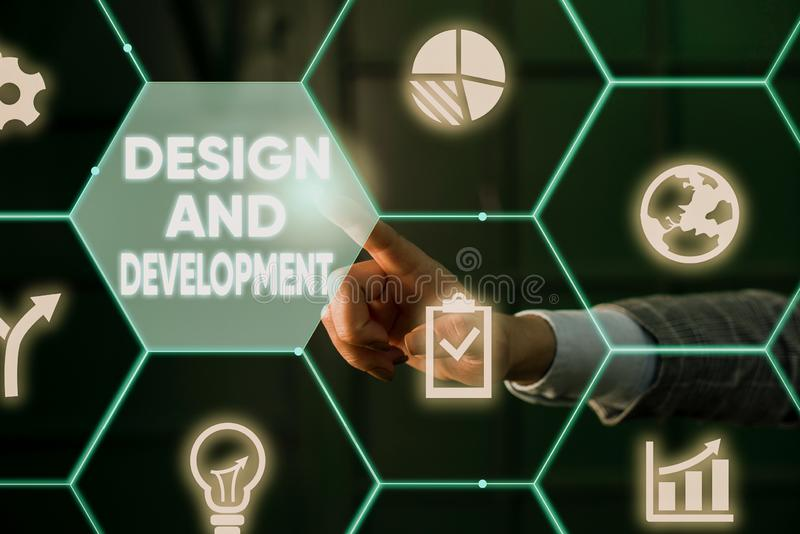 Writing note showing Design And Development. Business photo showcasing Defining the Specification of Products and royalty free stock photography