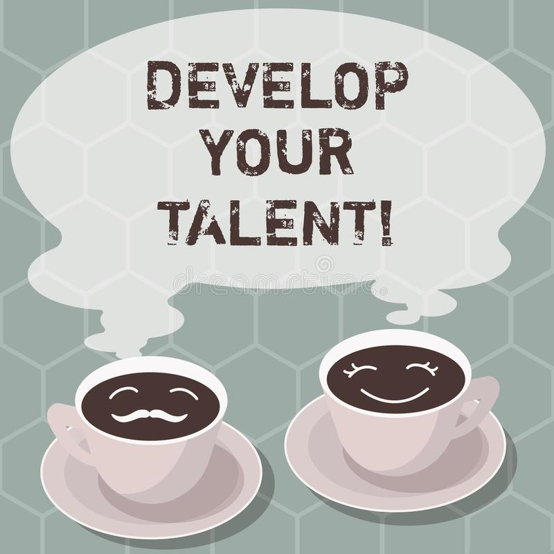 Writing note showing Develop Your Talent. Business photo showcasing improve natural aptitude or skill with effort and. Time Sets of Cup Saucer for His and Hers vector illustration