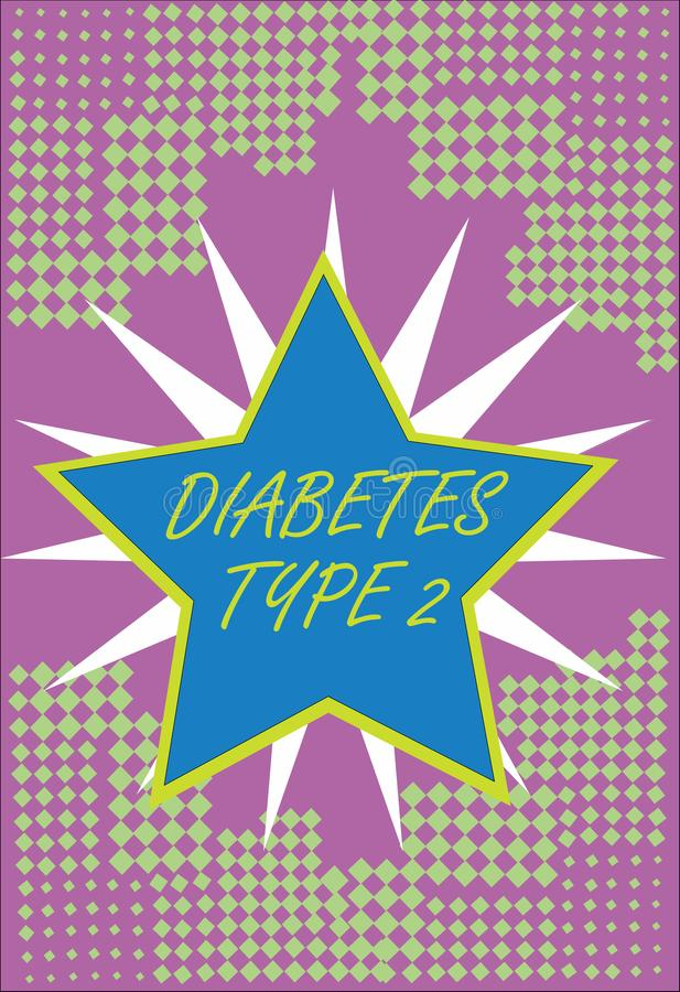 Writing note showing Diabetes Type 2. Business photo showcasing condition which body does not use insulin properly vector illustration