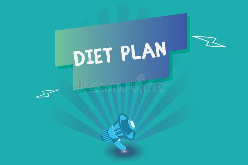 Writing note showing Diet Plan. Business photo showcasing Use of specific intake of nutrition for health analysisagement reasons.  vector illustration