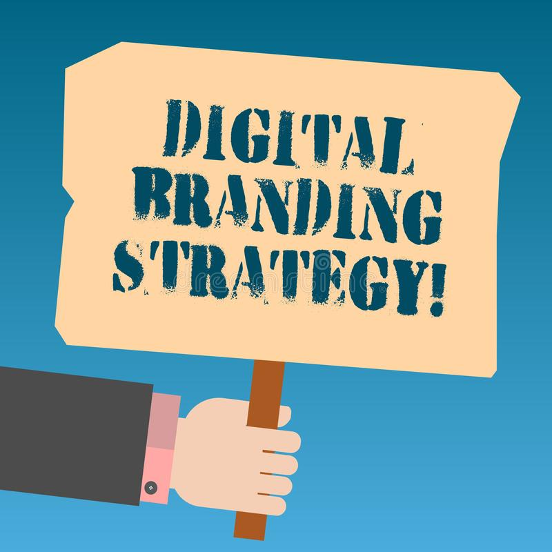 Writing note showing Digital Branding Strategy. Business photo showcasing develop a brand over a range of digital venues Hu. Analysis Hand Holding Colored vector illustration