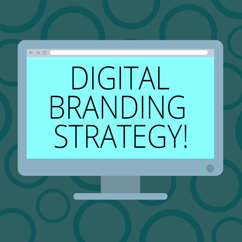 Writing note showing Digital Branding Strategy. Business photo showcasing develop a brand over a range of digital venues Blank. Computer Desktop Monitor Color stock illustration