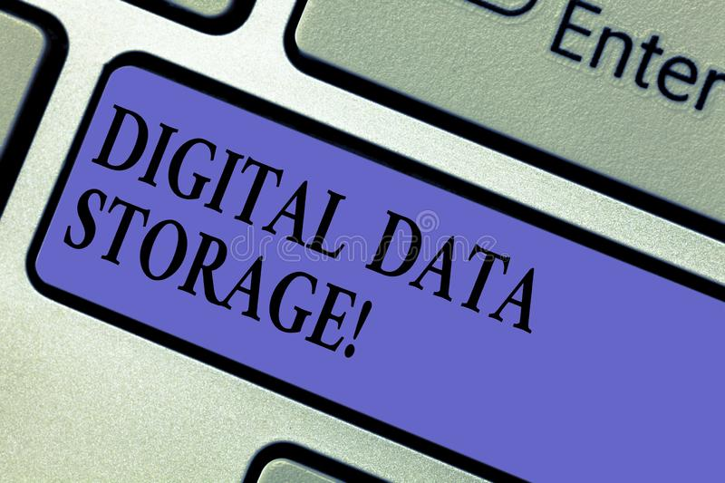 Writing note showing Digital Data Storage. Business photo showcasing format for storing and backing up computer data on. Tape Keyboard key Intention to create stock images