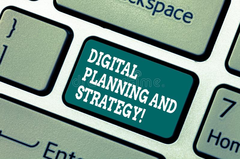 Writing note showing Digital Planning And Strategy. Business photo showcasing Marketing Analysis Business development royalty free stock photos