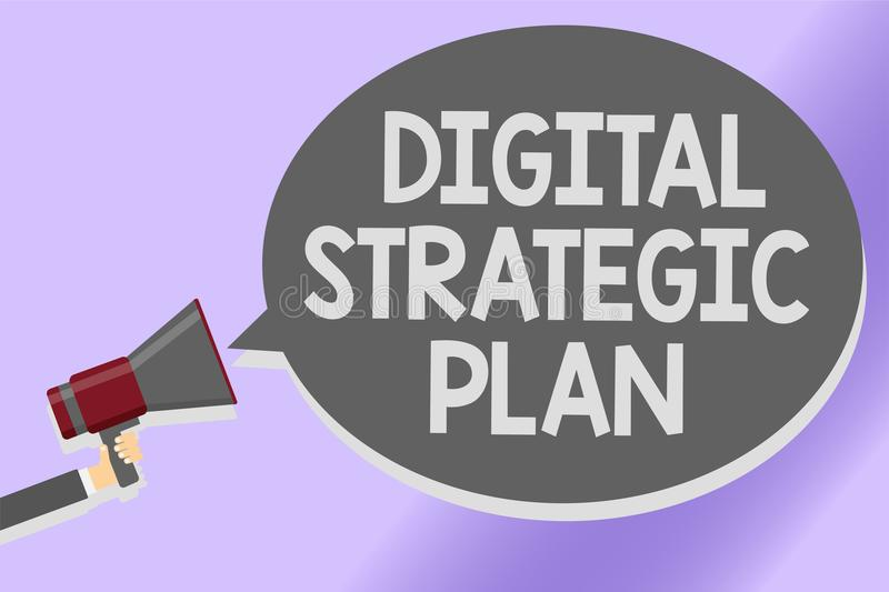 Writing note showing Digital Strategic Plan. Business photo showcasing creat schedule for marketing product or brand Sound speaker. Announcement declare lines royalty free illustration