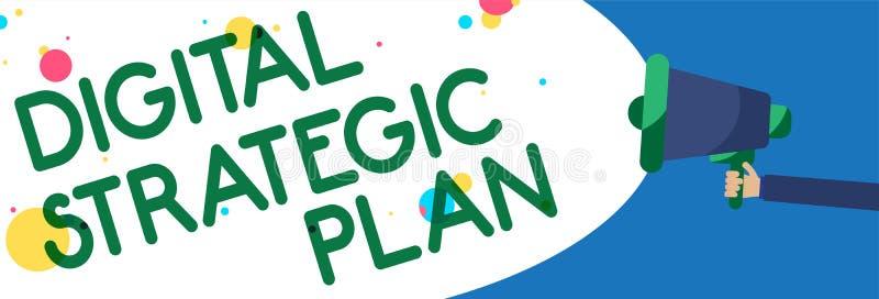 Writing note showing Digital Strategic Plan. Business photo showcasing creat schedule for marketing product or brand Symbols warni. Ng alarming speaker script vector illustration