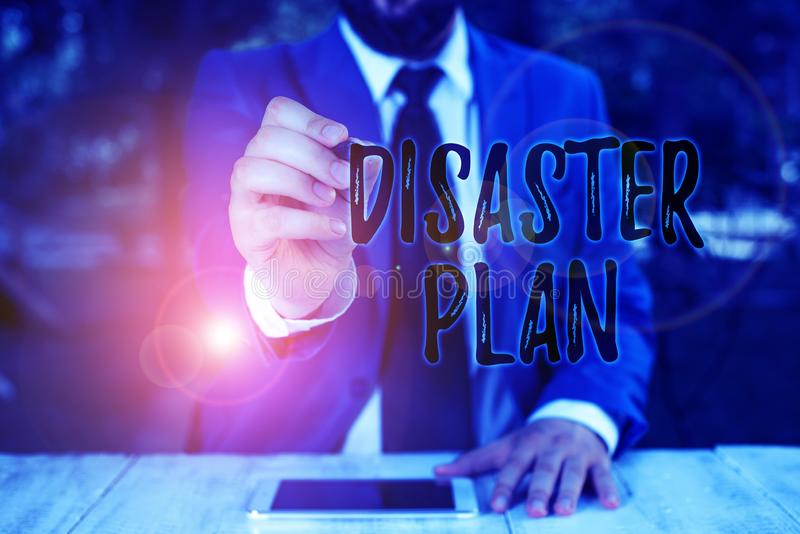 Writing note showing Disaster Plan. Business photo showcasing Respond to Emergency Preparedness Survival and First Aid Kit. Writing note showing Disaster Plan stock image