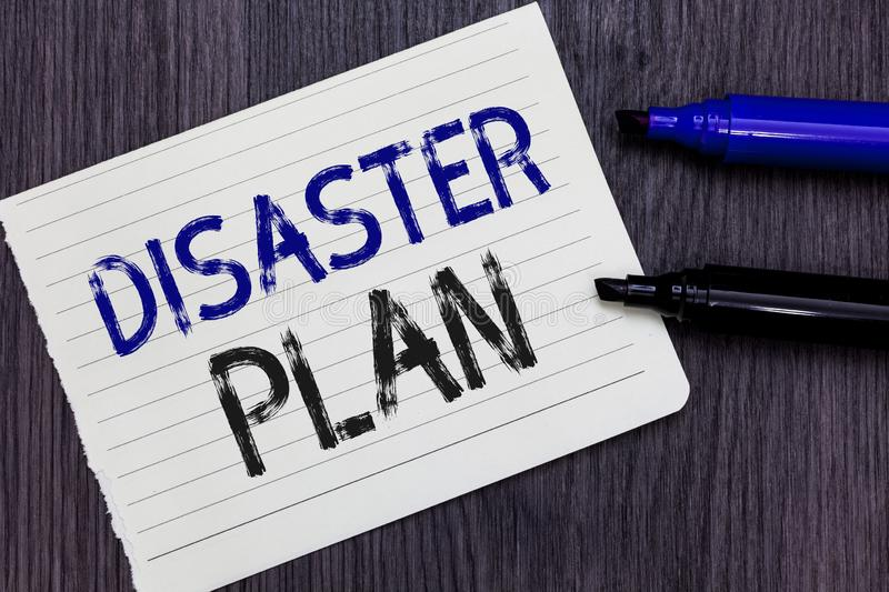 Writing note showing Disaster Plan. Business photo showcasing Respond to Emergency Preparedness Survival and First Aid Kit Noteboo. K Paper Reminder royalty free stock image