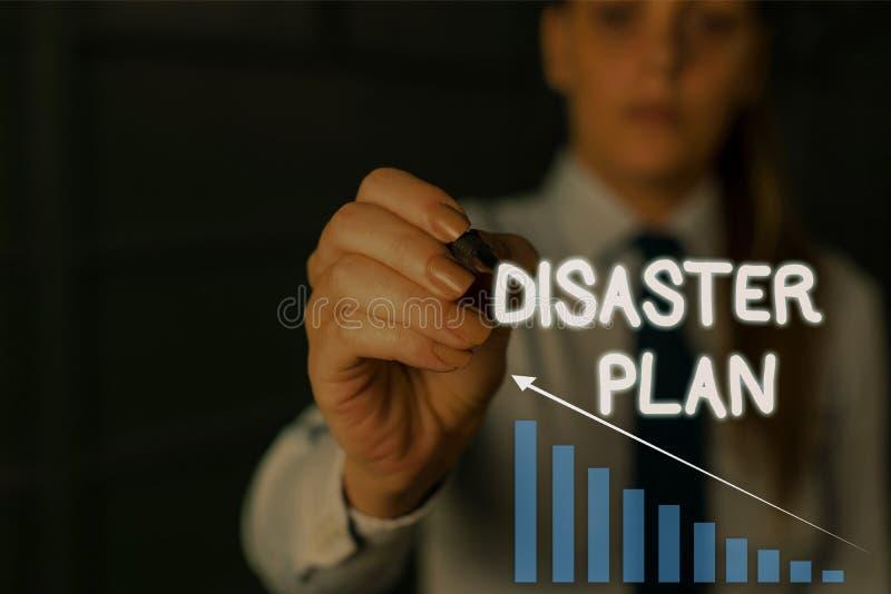 Writing note showing Disaster Plan. Business photo showcasing Respond to Emergency Preparedness Survival and First Aid. Writing note showing Disaster Plan royalty free stock image
