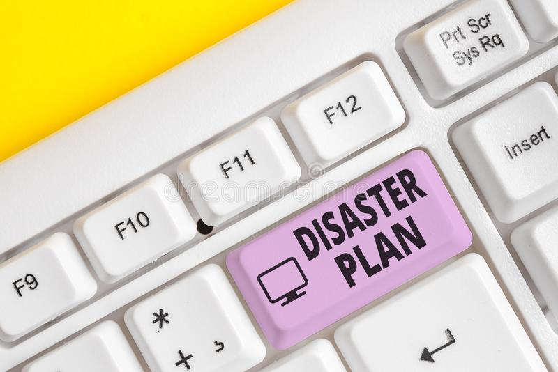 Writing note showing Disaster Plan. Business photo showcasing Respond to Emergency Preparedness Survival and First Aid. Writing note showing Disaster Plan royalty free stock photography