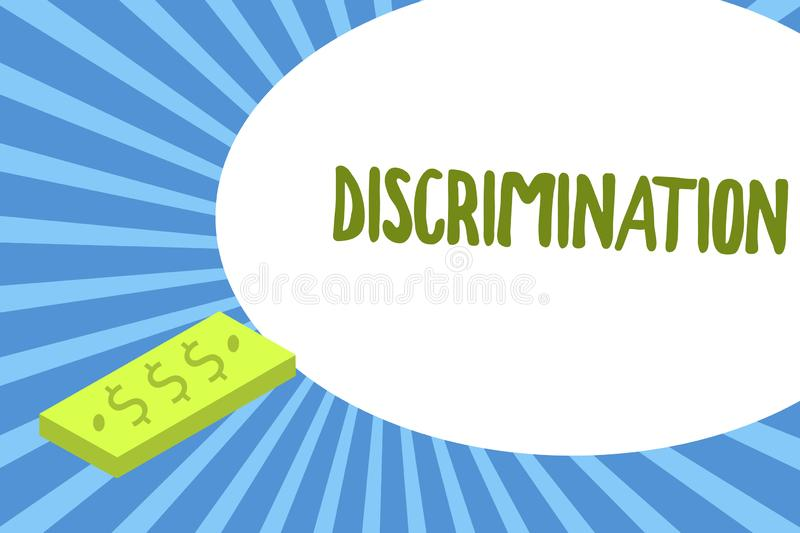 Writing note showing Discrimination. Business photo showcasing Prejudicial treatment of different categories of showing.  vector illustration