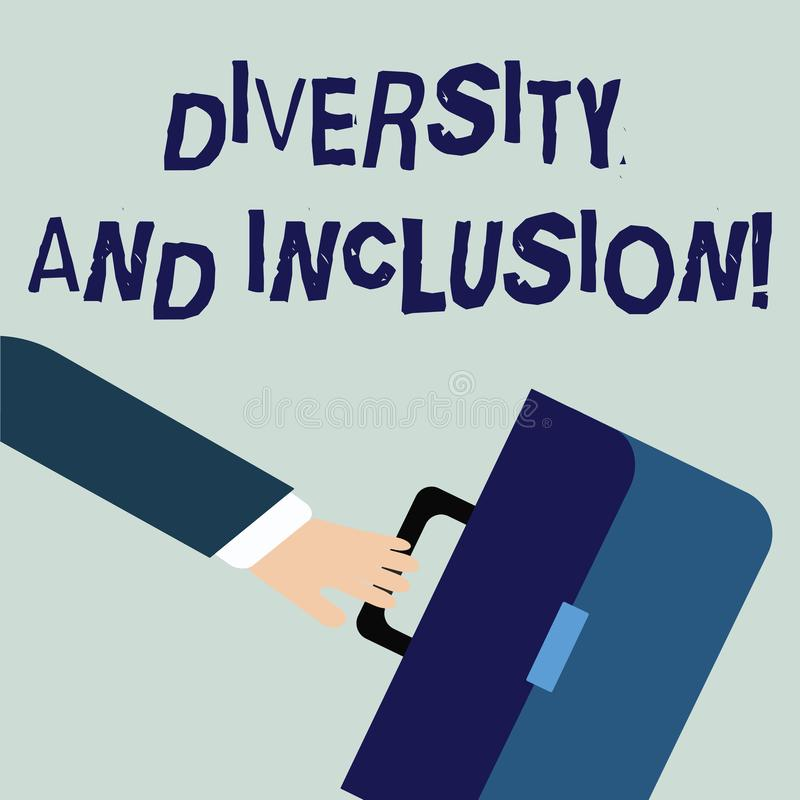Writing note showing Diversity And Inclusion. Business photo showcasing range huanalysis difference includes race. Writing note showing Diversity And Inclusion royalty free illustration