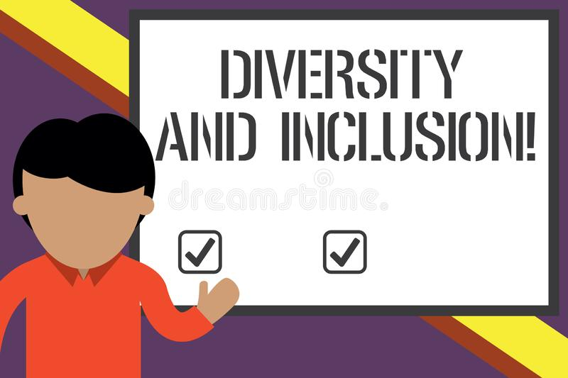 Writing note showing Diversity And Inclusion. Business photo showcasing range huanalysis difference includes race. Writing note showing Diversity And Inclusion vector illustration