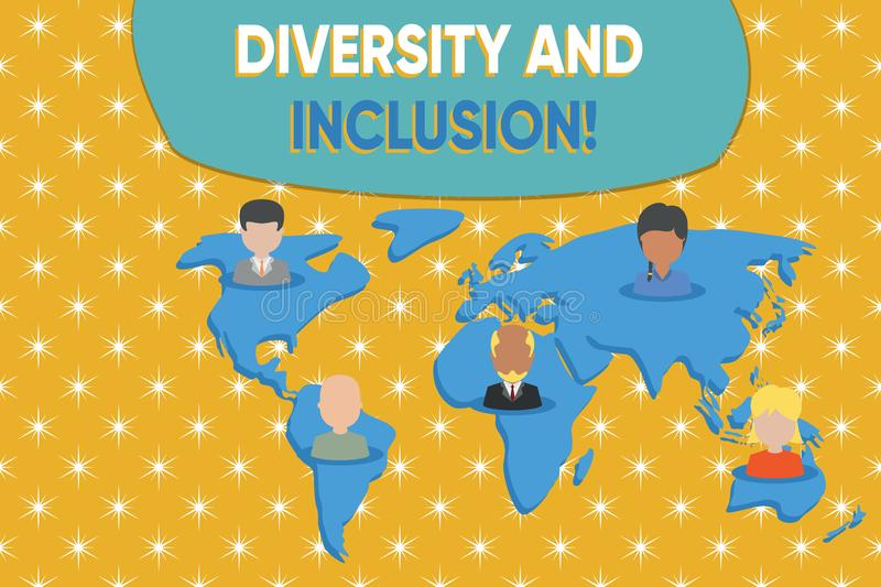 Writing note showing Diversity And Inclusion. Business photo showcasing range huanalysis difference includes race. Writing note showing Diversity And Inclusion stock illustration