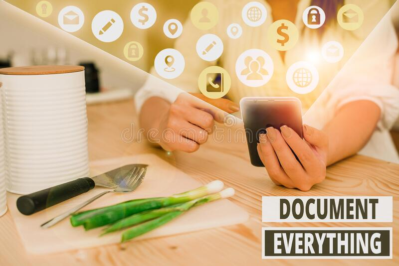 Writing note showing Document Everything. Business photo showcasing computer file that contains text that you have stock photo