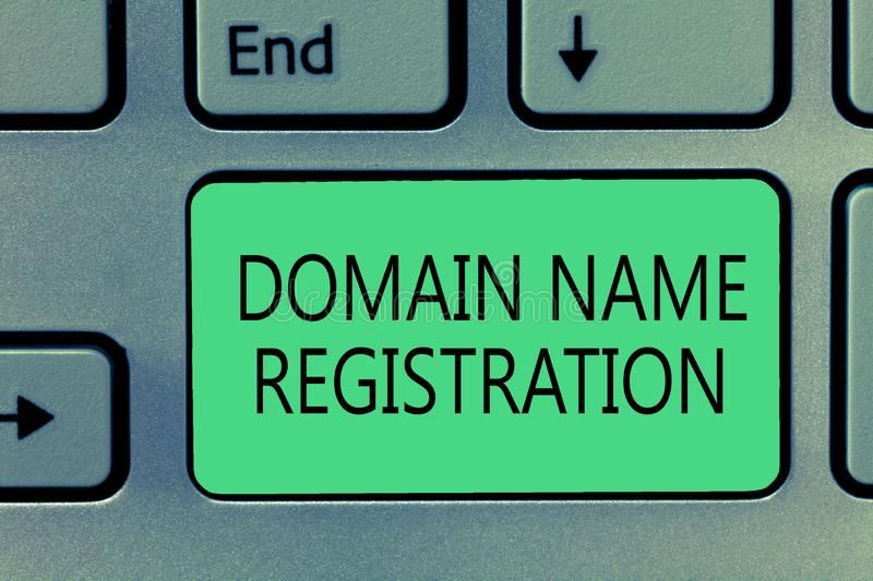 Writing note showing Domain Name Registration. Business photo showcasing Own an IP Address Identify a particular Webpage.  stock image