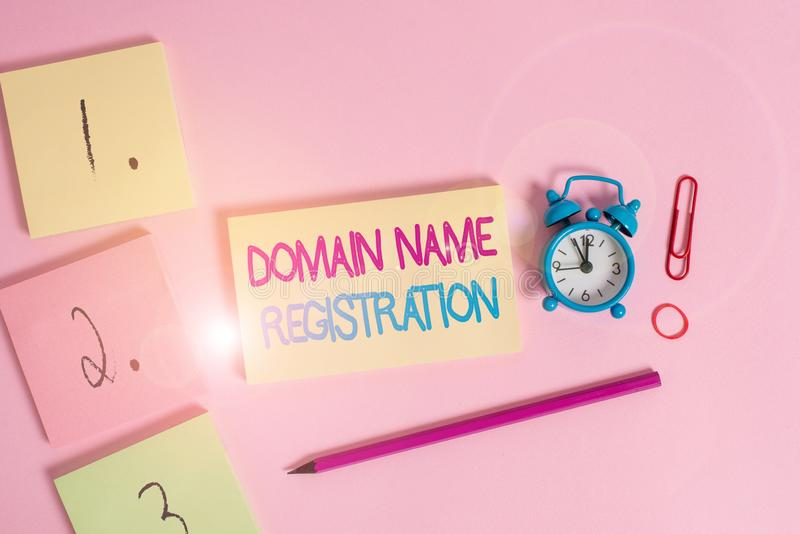 Writing note showing Domain Name Registration. Business photo showcasing Own an IP Address Identify a particular Webpage. Writing note showing Domain Name stock images