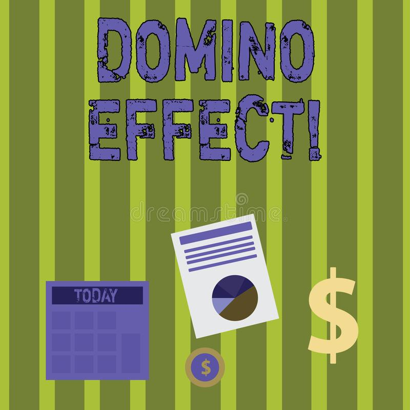 Writing note showing Domino Effect. Business photo showcasing Chain reaction that causing other similar events to happen. Writing note showing Domino Effect stock illustration