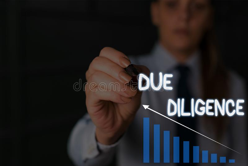 Writing note showing Due Diligence. Business photo showcasing Comprehensive Appraisal Voluntary Investigation Audit. Writing note showing Due Diligence. Business stock image