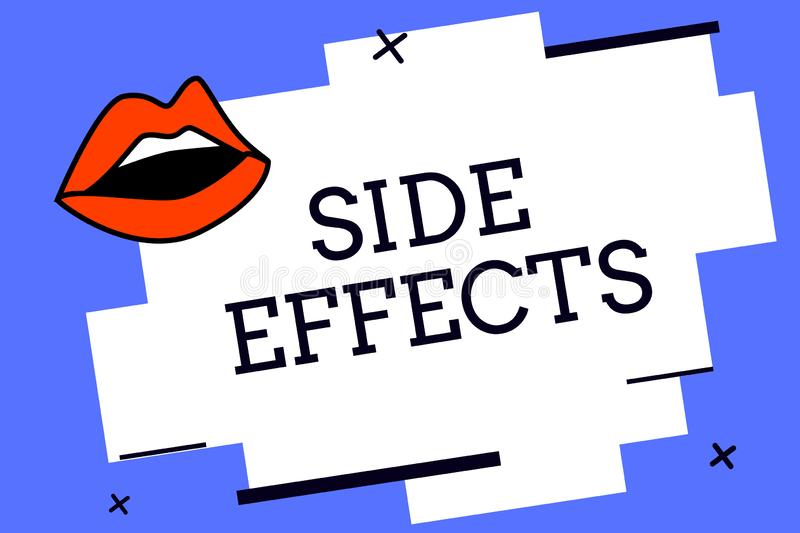 Writing note showing Side Effects. Business photo showcasing An unintended negative reaction to a medicine and treatment. Writing note showing e Effects stock illustration