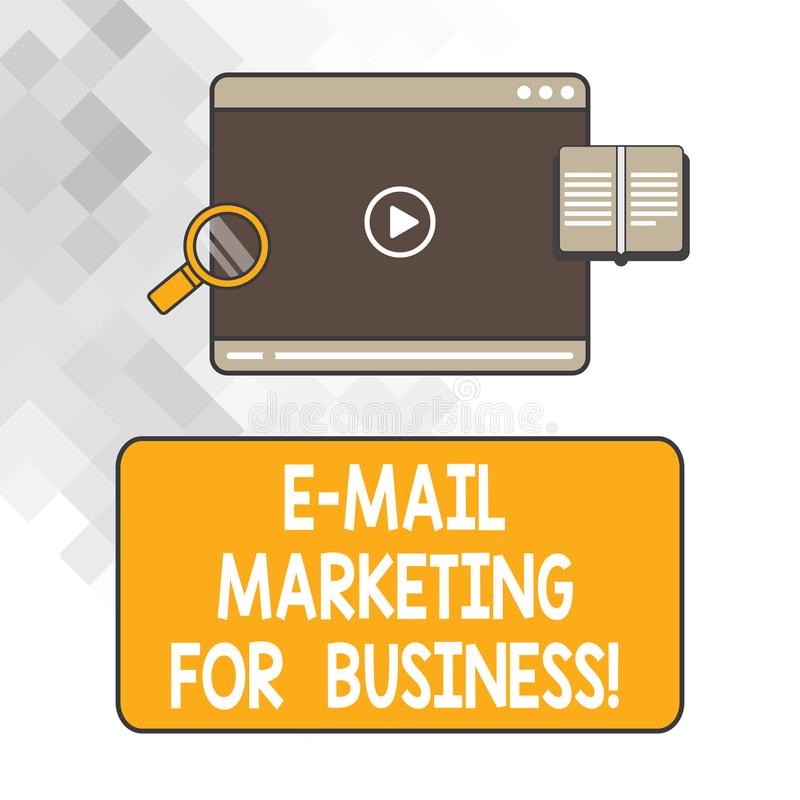 Writing note showing E Mail Marketing For Business. Business photo showcasing Mailing as advertising campaign strategies. Tablet Video Player Upload and royalty free illustration