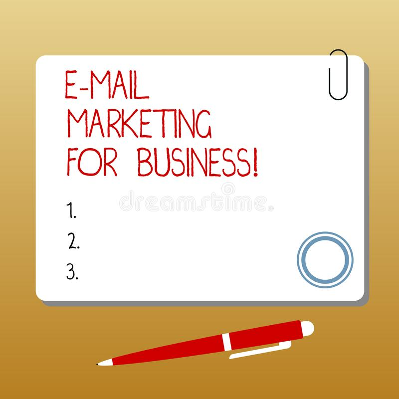 Writing note showing E Mail Marketing For Business. Business photo showcasing Mailing as advertising campaign strategies. Square Color Board with Magnet Click stock illustration