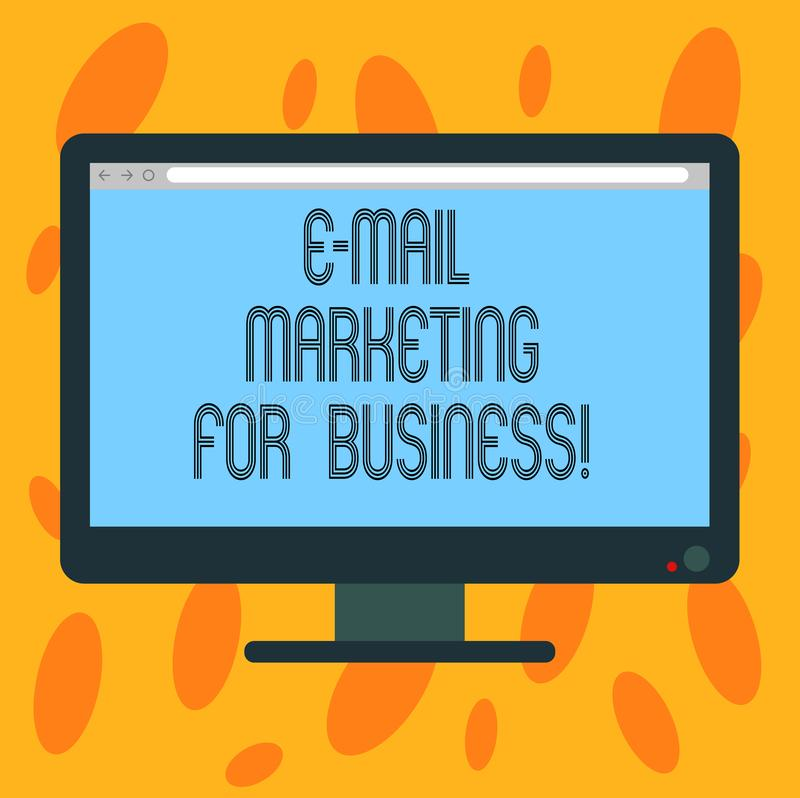 Writing note showing E Mail Marketing For Business. Business photo showcasing Mailing as advertising campaign strategies. Blank Computer Desktop Monitor Color stock illustration