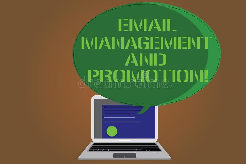 Writing note showing Email Management And Promotion. Business photo showcasing Mailing as advertising campaign. Strategies Certificate Layout on Laptop Screen stock illustration
