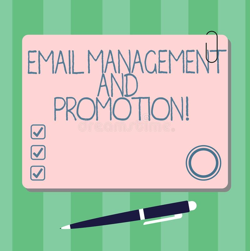Writing note showing Email Management And Promotion. Business photo showcasing Mailing as advertising campaign. Strategies Square Color Board with Magnet Click royalty free illustration