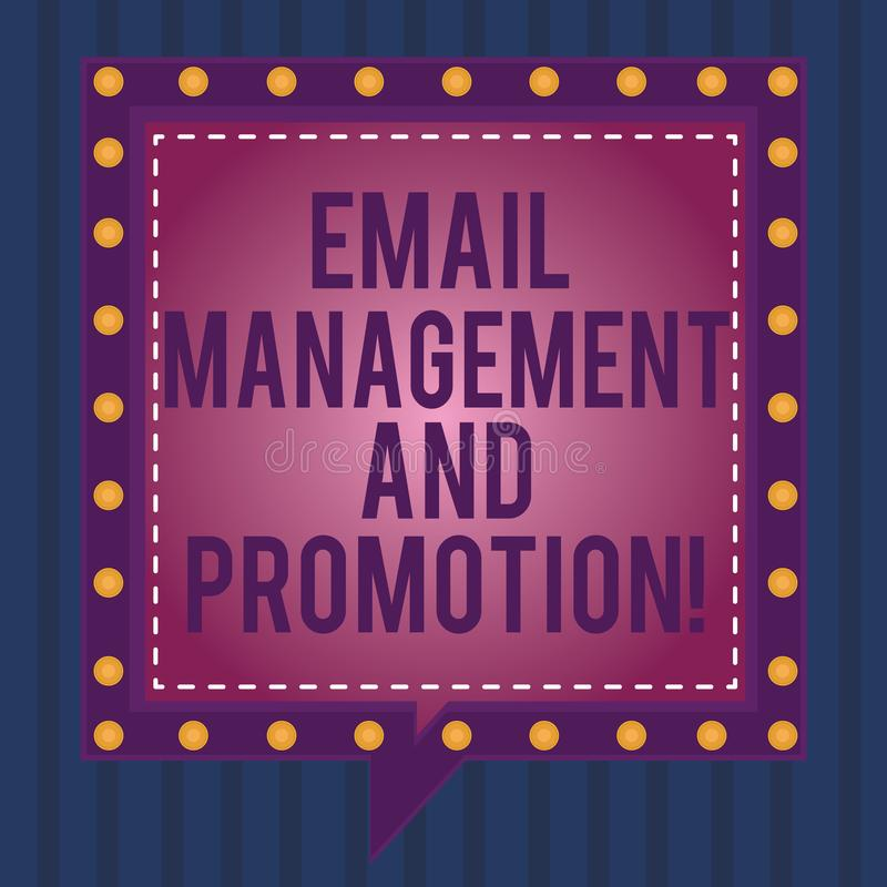 Writing note showing Email Management And Promotion. Business photo showcasing Mailing as advertising campaign. Strategies Square Speech Bubbles Inside other vector illustration