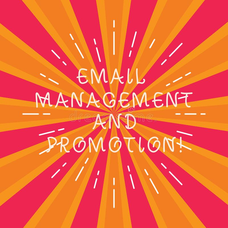 Writing note showing Email Management And Promotion. Business photo showcasing Mailing as advertising campaign. Strategies Thin Beam Lines Spreading out on Two vector illustration