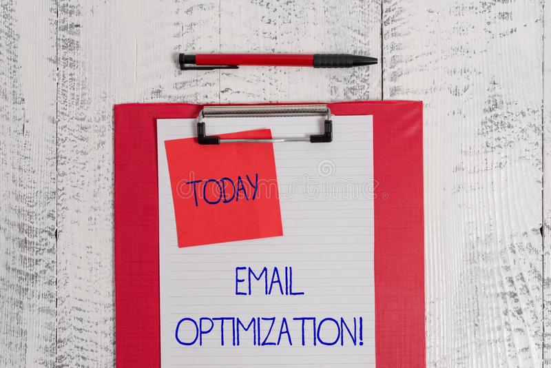 Writing note showing Email Optimization. Business photo showcasing Maximize the effectiveness of the marketing campaign. Writing note showing Email Optimization stock photo