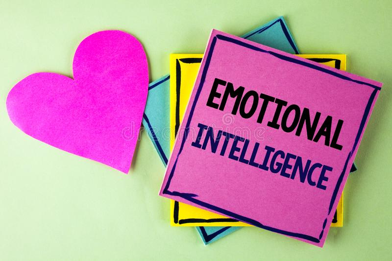 Writing note showing Emotional Intelligence. Business photo showcasing Capacity to control and be aware of personal emotions writ royalty free stock photo