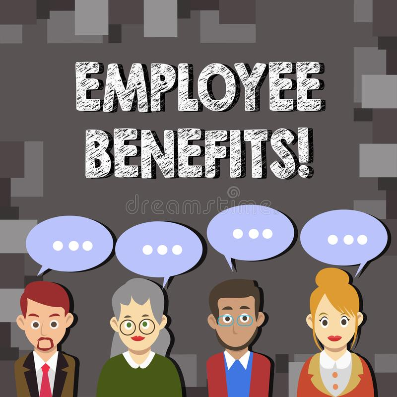 Writing note showing Employee Benefits. Business photo showcasing list of advantage recruiter get at work Insurance. Writing note showing Employee Benefits stock illustration