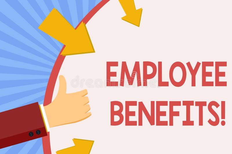 Writing note showing Employee Benefits. Business photo showcasing list of advantage recruiter get at work Insurance. Writing note showing Employee Benefits royalty free illustration