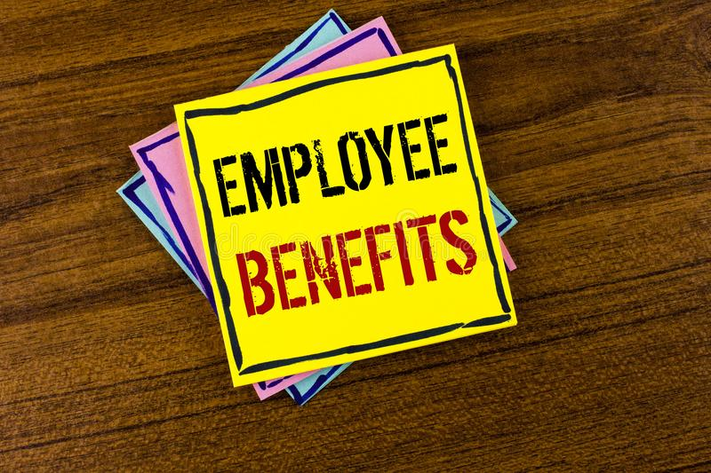 Writing note showing Employee Benefits. Business photo showcasing list of advantage recruiter get at work Insurance written on Ye. Writing note showing Employee stock image