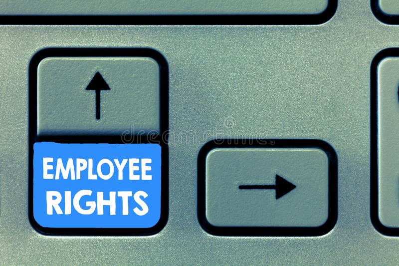 Writing note showing Employee Rights. Business photo showcasing All employees have basic rights in their own workplace.  royalty free stock photo
