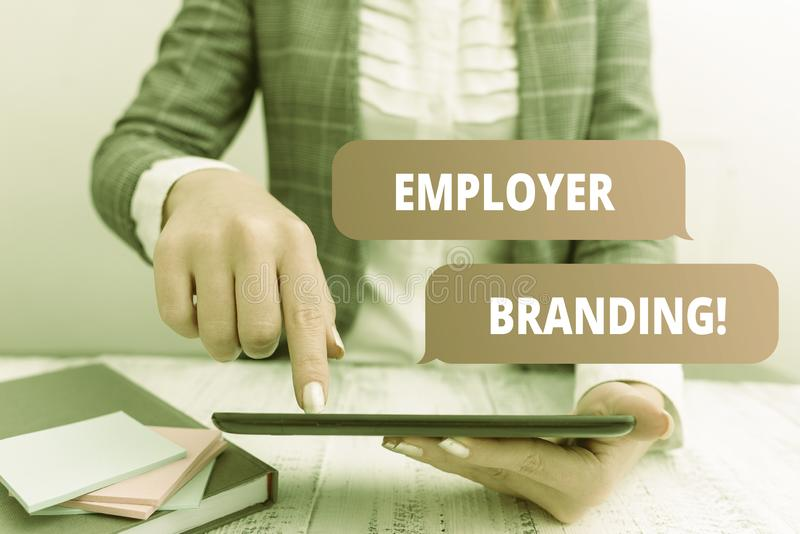Writing note showing Employer Branding. Business photo showcasing promoting company employer choice to desired target. Writing note showing Employer Branding royalty free stock image