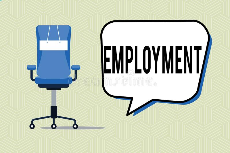 Writing note showing Employment. Business photo showcasing State of having paid work Occupation Utilization of something.  royalty free illustration