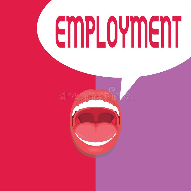 Writing note showing Employment. Business photo showcasing State of having paid work Occupation Utilization of something.  vector illustration
