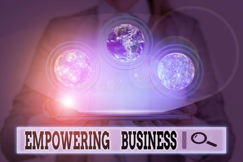 Writing note showing Empowering Business. Business photo showcasing creating an environment that fosters growth of. Writing note showing Empowering Business stock image