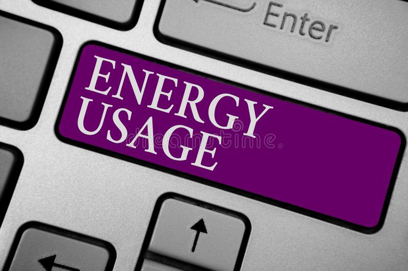 Writing note showing Energy Usage. Business photo showcasing Amount of energy consumed or used in a process or system Keyboard pur royalty free stock photo