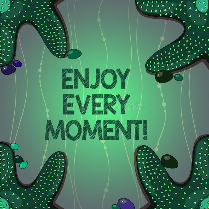 Writing note showing Enjoy Every Moment. Business photo showcasing Remove unneeded possessions Minimalism force live. Present Starfish on Four Corners with stock illustration