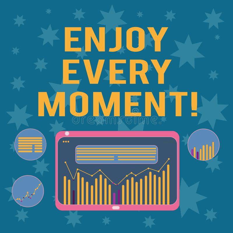 Writing note showing Enjoy Every Moment. Business photo showcasing Remove unneeded possessions Minimalism force live. Present Digital Combination of Column Line royalty free illustration