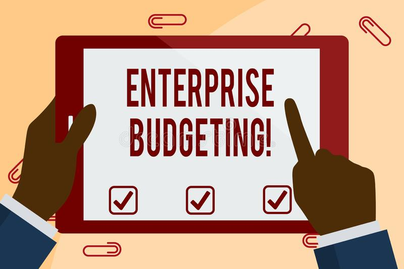 Writing note showing Enterprise Budgeting. Business photo showcasing estimated income and expenses associated in. Writing note showing Enterprise Budgeting vector illustration